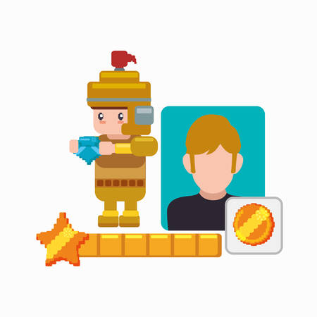 prophetic: character boy knight game coin vector illustration eps 10