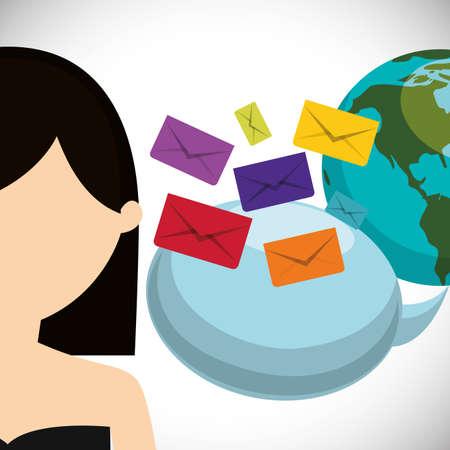 chat room: woman world bubble speech sending email envelope vector illustration