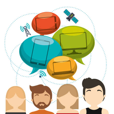 receiver: group technology connected device satellite internet vector illustration