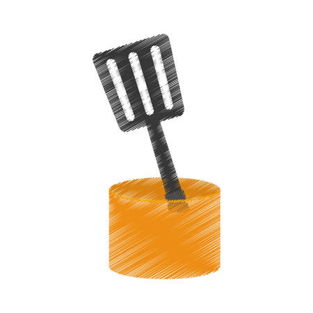 drawing spatula yellow container utensil kitchen vector illustration eps 10