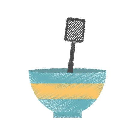 drawing bowl spatula grill utensil kitchen vector illustration eps 10 Illustration