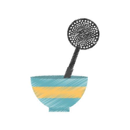 rolling pin: drawing bowl spatula frying utensil kitchen vector illustration eps 10