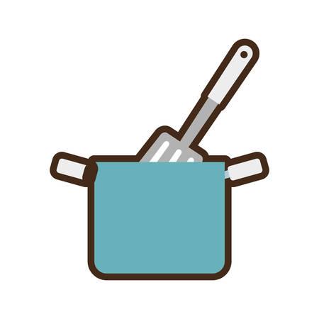 blue pot spatula kitchenware vector illustration eps 10