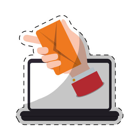 laptop computer with hand with envelope icon over white background. colorful design. vector illustration Illustration
