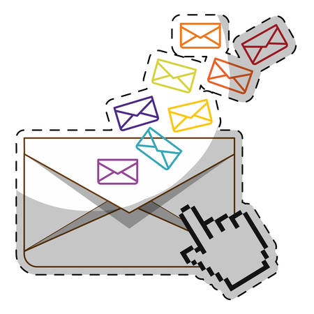 envelope with hand cursor icon over white background. vector illustration Illustration