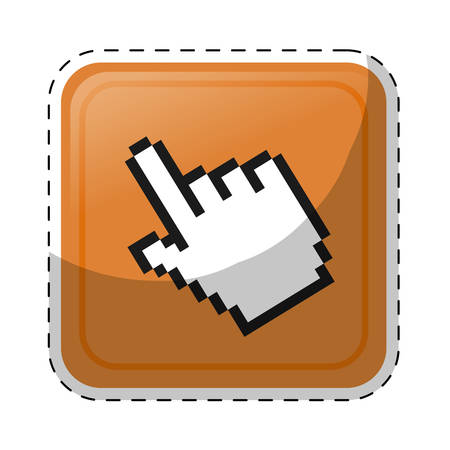 hand cursor icon over white background. colorful design. vector illustration