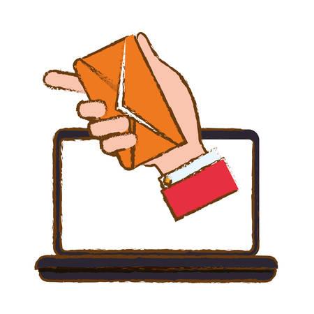 computadora portátil con el icono de sobre fondo blanco. diseño colorido. ilustración vectorial