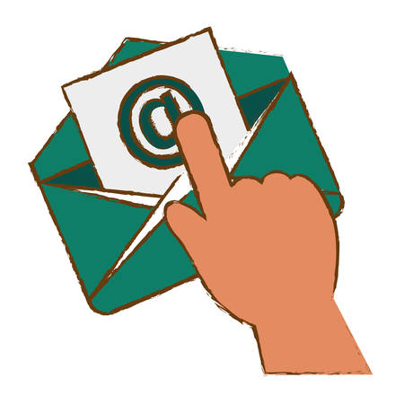 hand with envelope icon over white background. colorful design. vector illustration