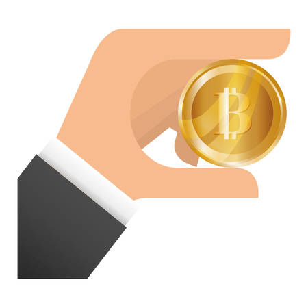 net trade: hand with gold bitcoin coin icon over white background. vector illustration Illustration