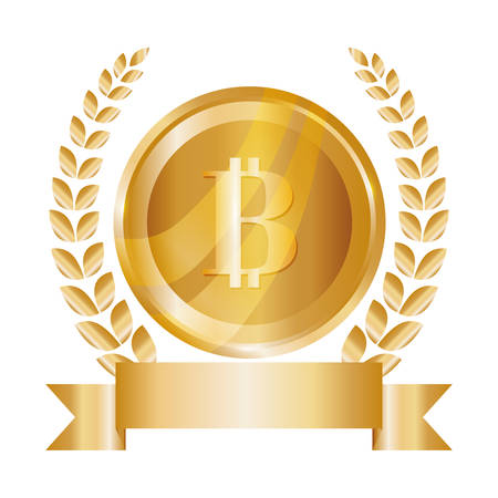 metal net: emblem with bitcoin currency icon over white background. vector illustration Illustration