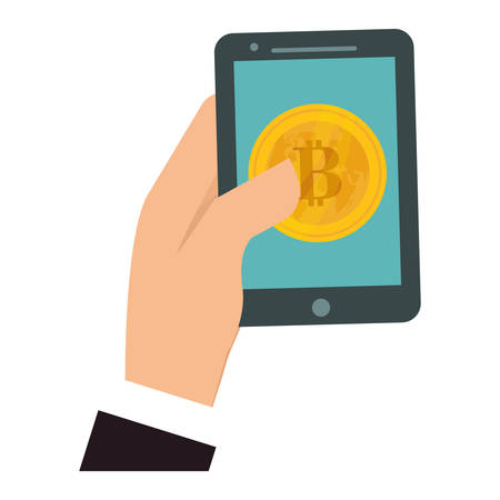 net trade: hand holding a smartphone device with bitcoin currency. vector illustration Illustration