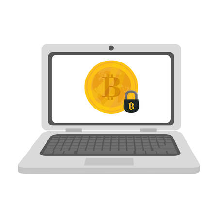 net trade: laptop computer and bitcoin currency over white background. colorful design. vector illustration