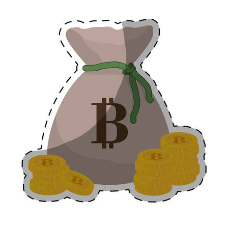 metal net: sack with bitcoin currency over white background. colorful desing. vector illustration