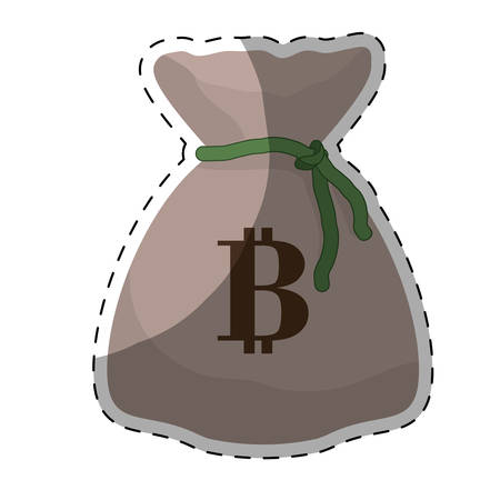 sack with bitcoin currency over white background. colorful desing. vector illustration
