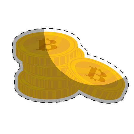 metal net: gold bitcoin coin icon over white background. vector illustration Illustration