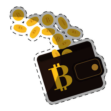 metal net: wallet with bitcoin currency icon over white background. colorful design. vector illustration