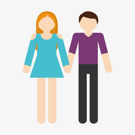 faceless heterosexual couple woman in dress man with shirt and pants icon image vector illustration design Illustration