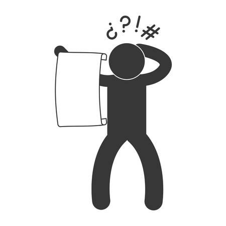 Personne déconcertée pictogramme lire gros morceau de papier icône image vector illustration design