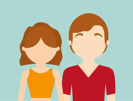 heterosexual couple: young fashionable faceless heterosexual couple icon imagevector illustration design