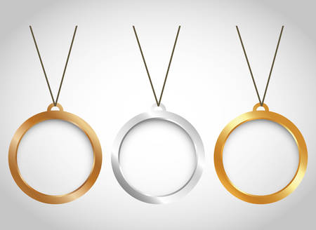 three minimal necklaces icon image vector illustration design