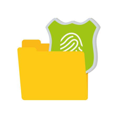shiled: folder data shiled protection system technology vector illustration eps 10
