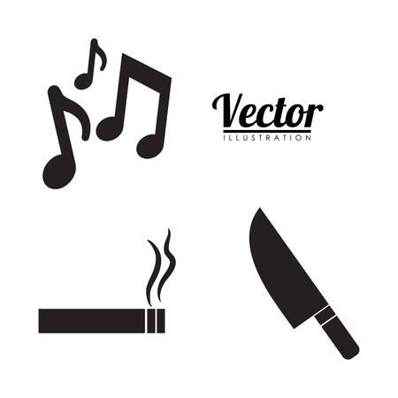 music smoking weapons forbidden icon image vector illustration design