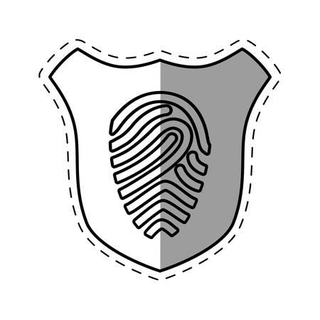 shiled: shiled protection fingerprint secure system line shadow vector illustration Illustration