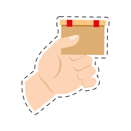 hand holding cardboard box delivery commerce cut line vector illustration eps 10