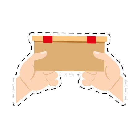 cut line: hands holding delivery box ribbon cut line vector illlustration eps 10