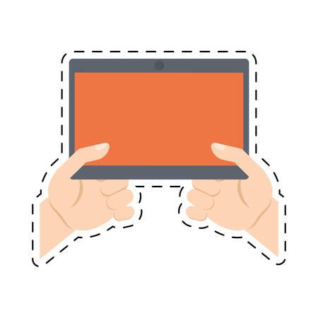 hands holding tablet technology online shopping cut line vector illustration eps 10 Illustration