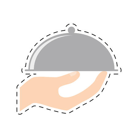 hand holding tray catering food cut line vector illustration eps 10