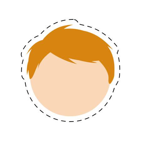 boy family head with cut line vector illustration eps 10 Illustration