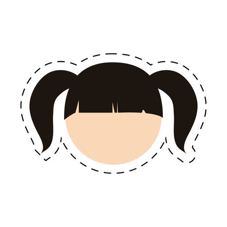head girl daugther kid with cut line vector illustration eps 10