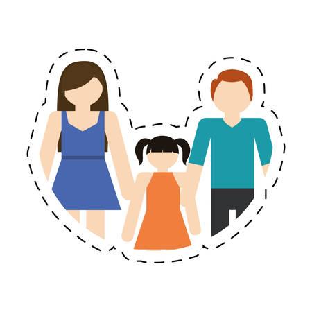 family mother father daughter together cut line vector illustration eps 10 Illustration
