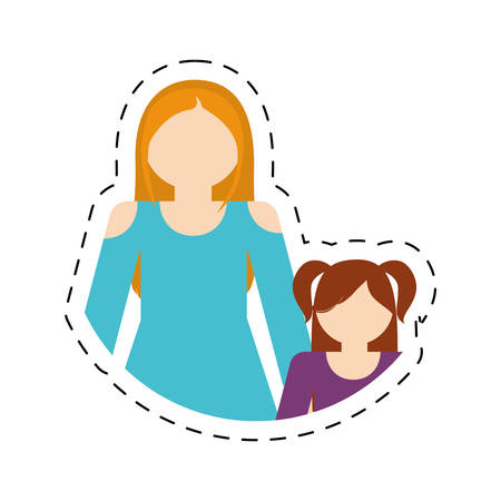 family mother and daughter funny cut line vector illustration eps 10