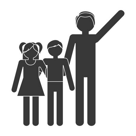 eps 10: silhouette family father and children lovely vector illustration eps 10 Illustration
