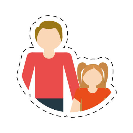 family father and daughter fun relation vector illustration eps 10 Illustration