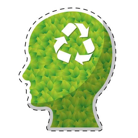 silueta de la cabeza perfil de pensamiento ecológico amistoso iconos relacionados imagen vector de diseño de la ilustración