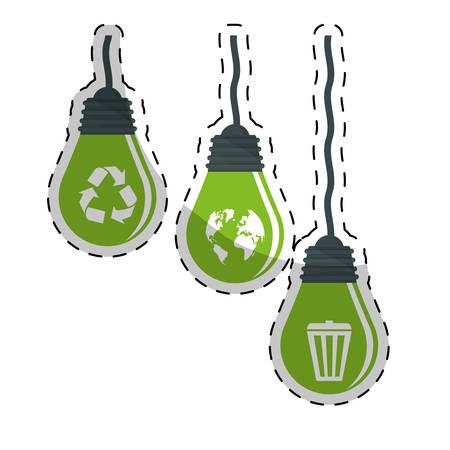 lightbulb energy eco friendly related icons image vector illustration design