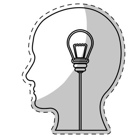 contemplate: brain and lightbulb bright idea icon image vector illustration design