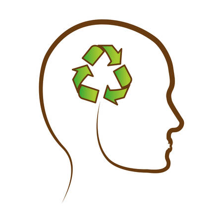 contemplate: head silhouette profile thinking eco friendly related icons image vector illustration design Illustration