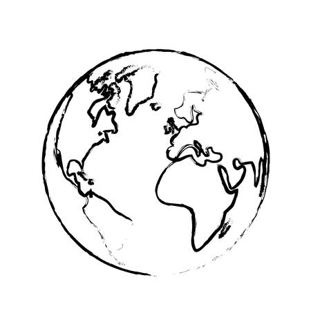 The earth with its different continents and countries, vector illustration