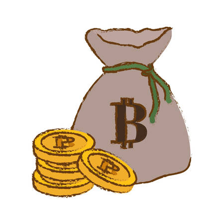 botcoin digital cash symbol in the bag with many money, vector illustration