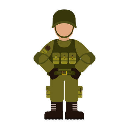 Military with its different protection tools icon image vector illustration