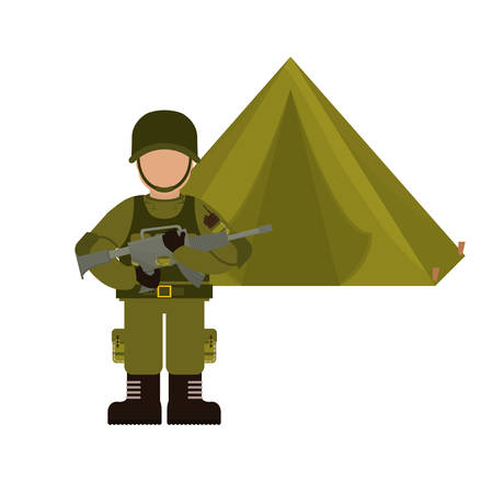 gun control: Military with his war team and his camp vector illustration design