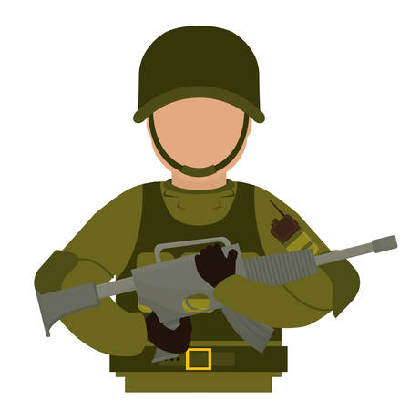 Military with his gun and equipment protection image vector illustration Illustration