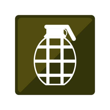 atomic bomb: Military grenade emblem icon image, vector illustration