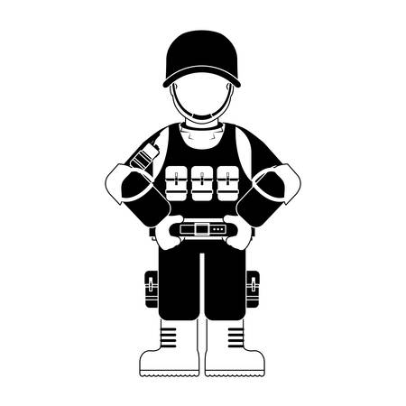 army gas mask: Military with its different protection tools icon image vector illustration