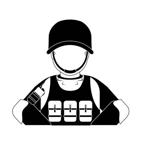 gun control: High ranking military man with his team vector illustration design