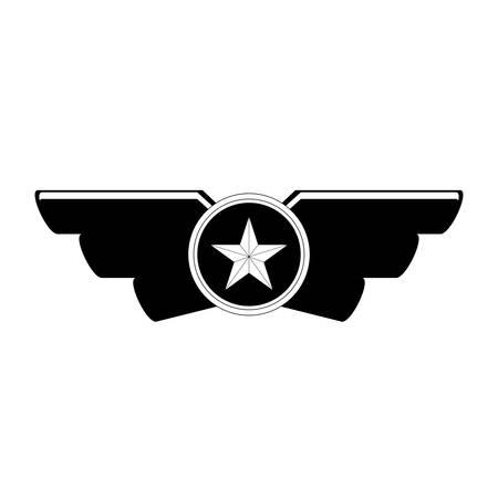 Emblem, das Militärrang-Ikonenbild, Vektorillustration zeigt Vektorgrafik